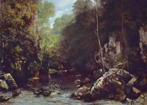 Gustave Courbet - The Shaded Stream (or The Stream of the Puits Noir)