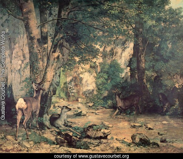 A Thicket of Deer at the Stream of Plaisir-Fountaine