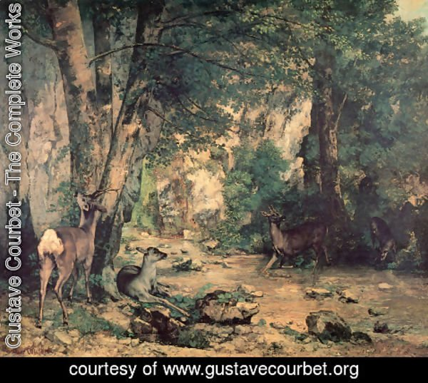 Gustave Courbet - A Thicket of Deer at the Stream of Plaisir-Fountaine