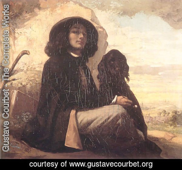 Gustave Courbet - Self Portrait (or Courbet with a Black Dog)