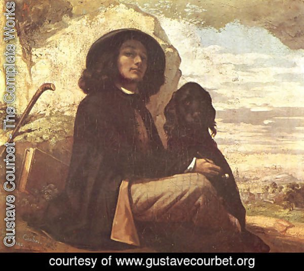 Gustave Courbet - Self Portrait with a Black Dog