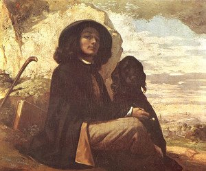 Self Portrait with a Black Dog