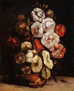 Gustave Courbet - Hollyhocks In A Copper Bowl