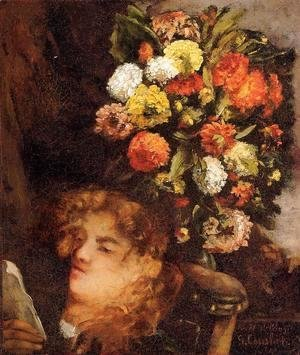 Gustave Courbet - Head Of A Woman With Flowers