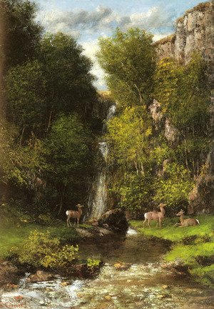 Gustave Courbet - A Family of Deer in a Landscape with a Waterfall