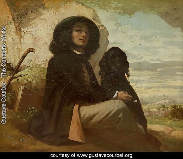 Courbet with his Black Dog, 1842