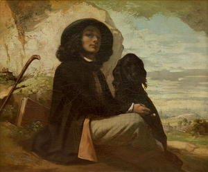 Gustave Courbet - Courbet with his Black Dog, 1842