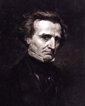 Gustave Courbet - Portrait of Hector Berlioz (1803-69) engraved by A. Gilbert, pub. in the 'Gazette des Beaux-Arts'