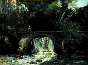 Gustave Courbet - Landscape with bridge