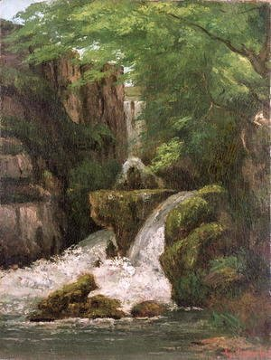 Gustave Courbet - Waterfall in the Ornans Rocks