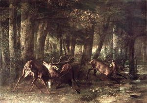 Gustave Courbet - Spring, Stags Fighting, 1861