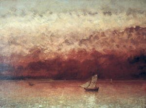 Gustave Courbet - Lake Leman with Setting Sun, c.1876