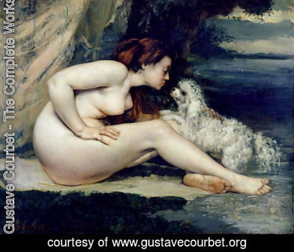 Gustave Courbet - Female Nude with a Dog (Portrait of Leotine Renaude) 1861-62