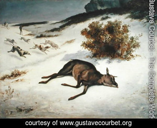 Gustave Courbet - Hind Forced Down in the Snow, 1866