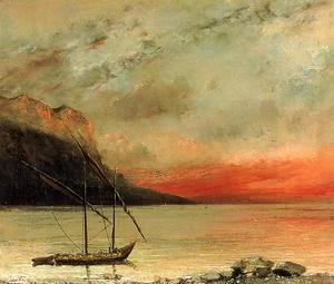 Gustave Courbet - Sunset over Lake Leman, 1874