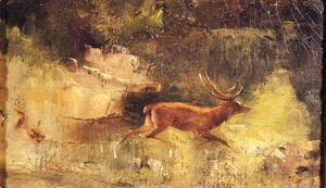 Gustave Courbet - Stag Running through a Wood, c.1865