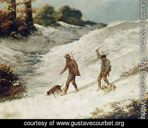Gustave Courbet - Hunters in the Snow or The Poachers