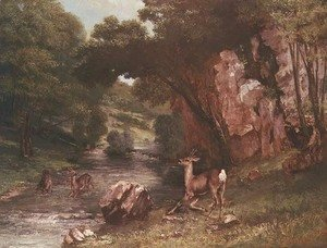 Gustave Courbet - Deer by a River (Chevreuils a la Riviere)