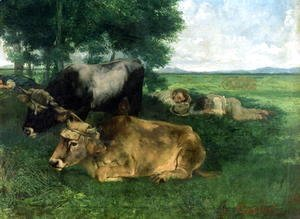 Gustave Courbet - La Siesta Pendant la saison des foins (and detail of animals sleeping under a tree), 1867