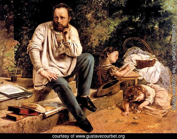 Pierre Joseph Proudhon (1809-65) and his children in 1853, 1865