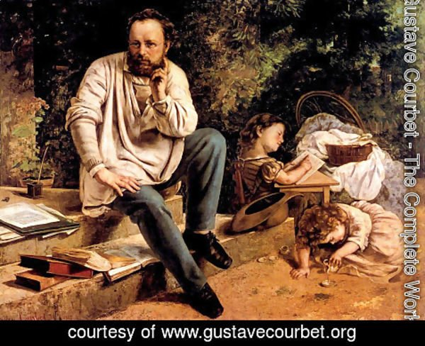 Gustave Courbet - Pierre Joseph Proudhon (1809-65) and his children in 1853, 1865