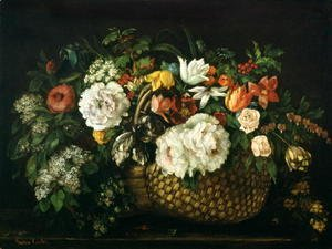 Gustave Courbet - Flowers in a Basket, 1863