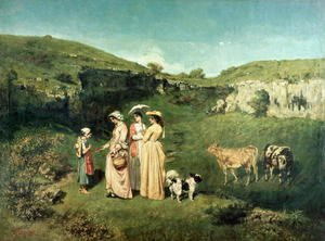 Gustave Courbet - Young Women of the Village Giving Alms to a cowherd, 1852