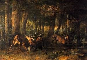 Gustave Courbet - Battle of the Stags