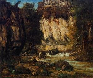 Gustave Courbet - River and Cliff
