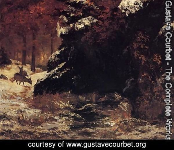 Gustave Courbet - Deer in the Snow
