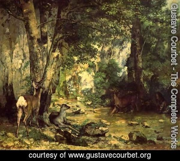 Gustave Courbet - The Shelter of the Roe Deer at the Stream of Plaisir-Fontaine, Doubs