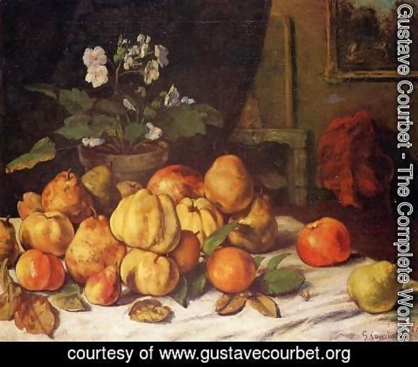 Gustave Courbet - Still Life: Apples, Pears and Primroses on a Table
