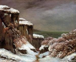 Gustave Courbet - Cliffs by the Sea in the Snow