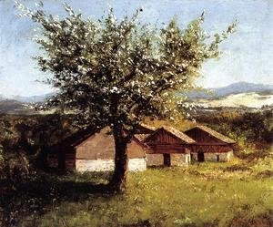 Swiss Landscape with Flowering Apple Tree