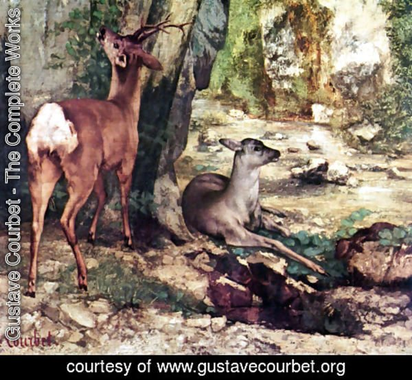Gustave Courbet - A Thicket of Deer at the Stream of Plaisir-Fountaine, Detail