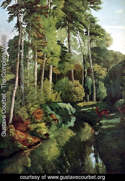 Gustave Courbet - Waldbach with deer