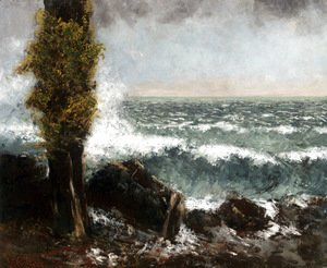 Gustave Courbet - Seascape, the Poplar