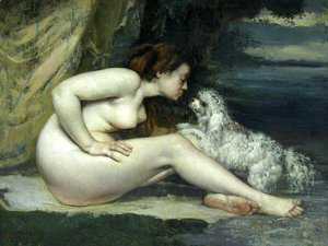 Nude woman with a dog
