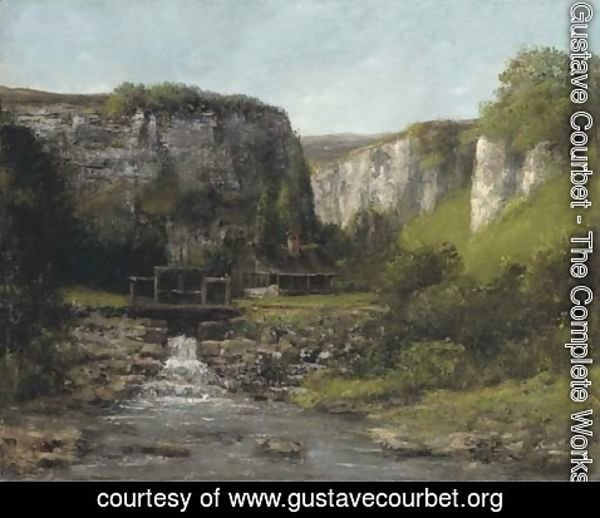 Gustave Courbet - Jura Landscape with a Watermill