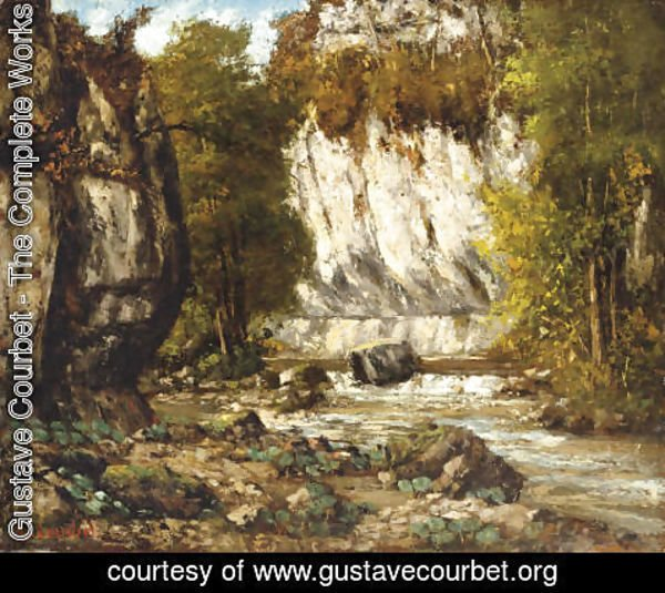 Gustave Courbet - Riviere et falaise