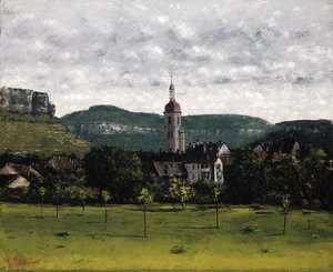 Gustave Courbet - Vue d'Ornans et son clocher