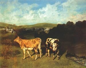 Gustave Courbet - White Bull and Blond Heifer