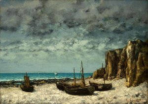 Gustave Courbet - Boats on a Beach, Etretat