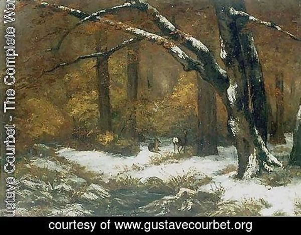 Gustave Courbet - Deer's Shelter in Winter