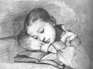 Gustave Courbet - Portrait of Juliette Courbet as a Sleeping Child